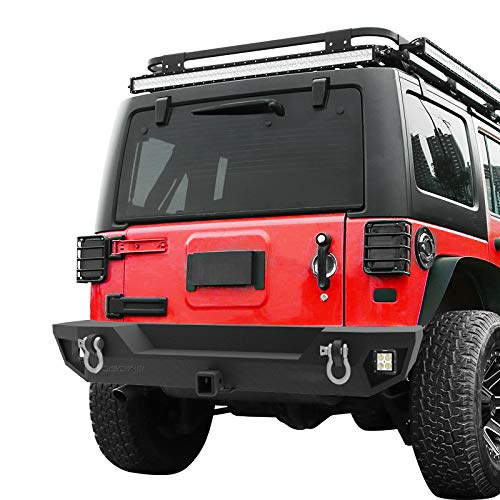 oEdRo Rear Bumper Compatible for 2007-2018 Jeep Wrangler JK Unlimited, Rock Crawler Bumper with Hitch Receiver & 2X LED Lights Off Road Textured Black ()