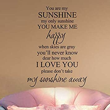Attrayant You Are My Sunshine My Only Sunshine Nursery Wall Decal Love Wall Quote  Family Love Wall