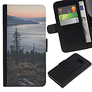 iBinBang / Flip Funda de Cuero Case Cover - Tree Lake Mountain City Lights - Samsung Galaxy S6 SM-G920