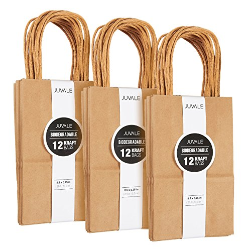 36-Count Brown Kraft Bags - Paper Bags with Handles, Great As Shopping Bags, Retail Bags, Party Favor Bags, Gift Bags - Small, 8.5 x 5.25 Inches -
