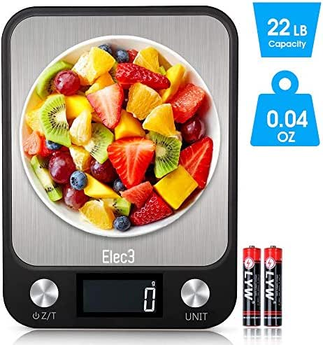Digital Kitchen Food Scale, Elec3 Kitchen Weight Scales for Cooking & Baking, Ultra Slim/Multifunctional/Tare Function Measuring Scales- 22lb/10kg Capacity, 0.04oz/1g(Batteries Included)