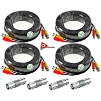ACELEVEL 4 PACK PREMIUM 100Ft.THICK BNC EXTENSION CABLES FOR DEFENDER SYSTEMS BLACK