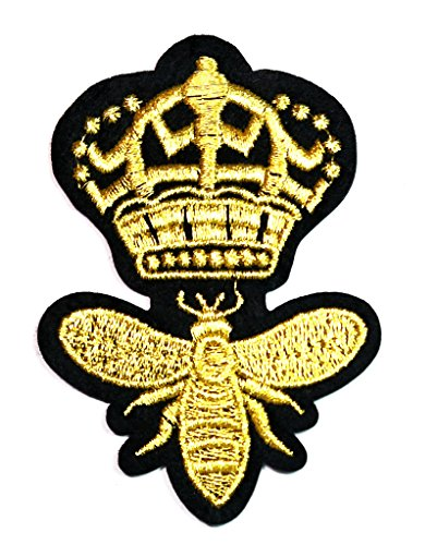 HHO Golden CROWN BEE cartoon kid Patch Embroidered DIY Patches, Cute Applique Sew Iron on Kids Craft Patch for Bags Jackets Jeans Clothes