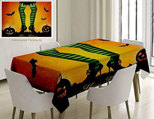 Unique Custom Cotton And Linen Blend Tablecloth Halloween Decorations Cartoon Witch Legs With Striped Leggings Western Culture Concept Bats And PumpkiTablecovers For Rectangle Tables, 70 x 52 Inches