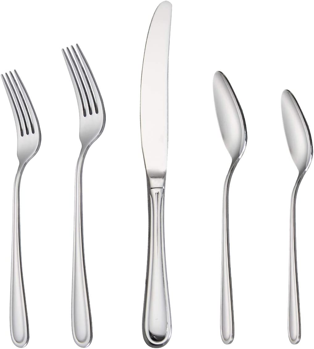 Silverware Set 20-Piece, Stainless Steel Flatware Cutlery Set Service for 4, Tableware Eating Utensils Include Knife/Fork/Spoon, Mirror Polished, Dishwasher Safe