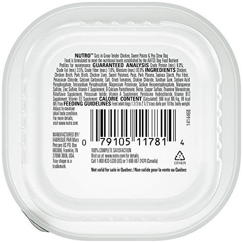 NUTRO Adult High Protein Natural Grain Free Wet Dog Food Cuts in Gravy Tender Chicken, Sweet Potato & Pea Stew, (24) 3.5 oz. Trays