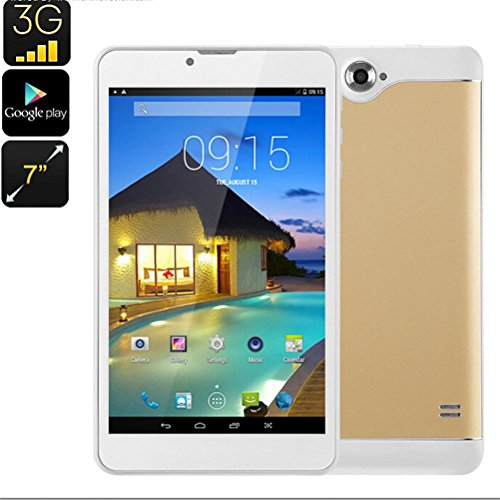 Tablet PC, 7'' Tablet Android 5.0 Quad Core HD, Dual SIM Camera Blue-Tooth Wi-Fi, 3D Game Supported (Gold) by Hometom (Image #7)