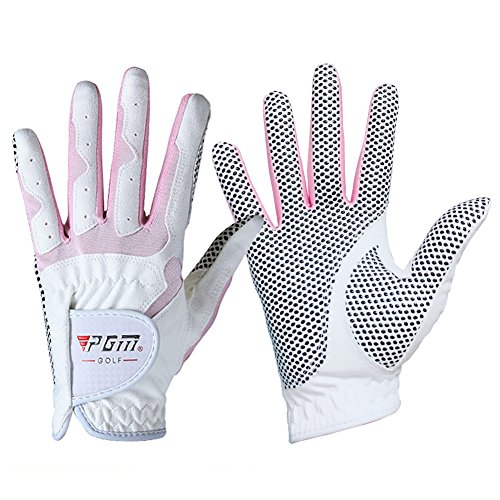 PGM Women's Golf Glove One Pair,Anti-Slip and Breathable,Bionic Gloves(Double color) (pink, 21) ()