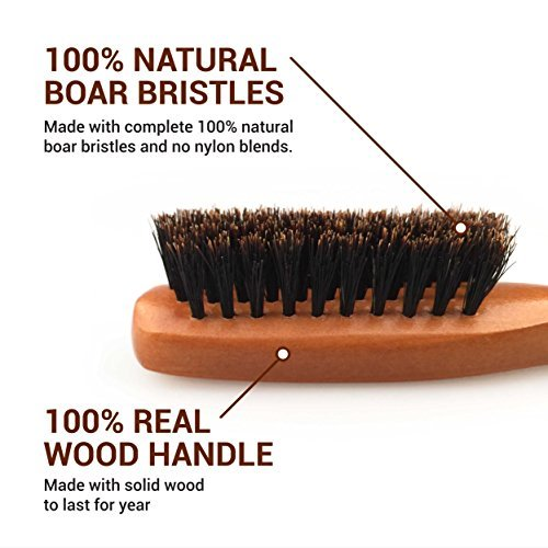 Evolve 100 Boar Bristle Hair Brush Best Brush For Pocket Purse Travel Size Distribute Natural Oil Stimulate Scalp Medium Firmness Great For Beards