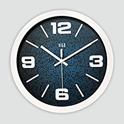 hito Modern Colorful Silent Non-ticking Wall Clock- 12 inches (B whiteframe)