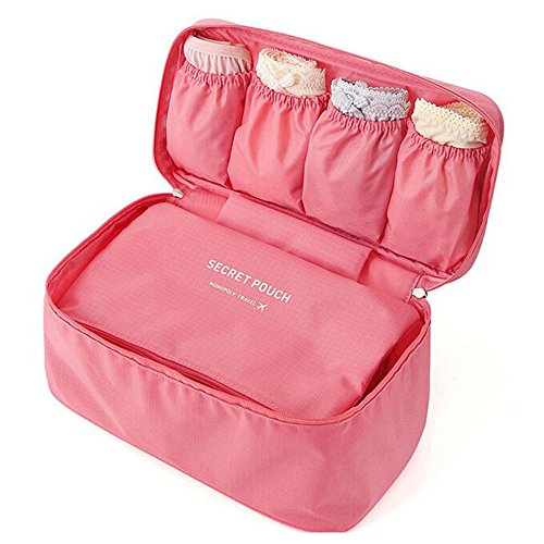 Price comparison product image Toyoo Fashion Portable Multi-Functional Travel Organizer Cosmetic Make-up Bag Luggage Storage Case Bra Underwear Pouch (Pink)