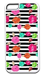 Flower Doodles on Black and White Stripes- Case for the APPLE iphone 5c ONLY!!! NOT COMPATIBLE WITH THE iphone 5c!!!-Hard White Plastic Outer Case with Tough Black Rubber Lining