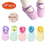Elesa Miracle Non-Skid Baby Girl Toddler Socks, 5 Pairs, for 12-24 Months, Candy Color