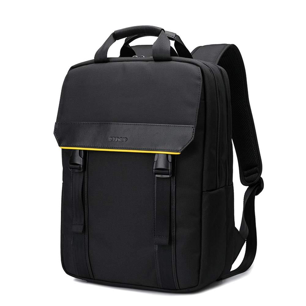 ビジネスバックパックレザーナイロンバックパックメンズビジネス旅行多機能コンピュータバッグ  black B07LD5G5TG