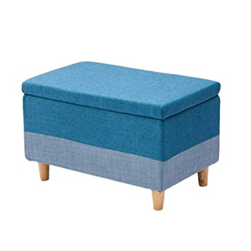 Color : Green LFF Leather Ottoman Storage Box Bench with Lid Versatile Space-Saving Storage Stool Small Footstool