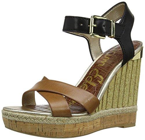 Toe Wedges Sam Open Edelman (Sam Edelman Womens Clay Leather Open Toe Casual, Saddle/Black, Size 10.5)