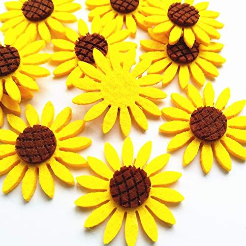 Qingxi Charm 36pcs Yellow Sunflower Applique Patches for Girl Hairband Making Clothes Sewing Decoration DIY Handmaking Craft (Yellow)