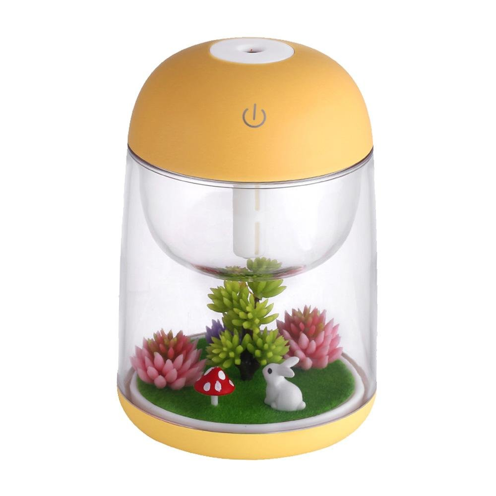 Aromatherapy Micro-Landscape Humidifier USB Essential Oil Diffuser, Aolvo 180ml Ultrasonic Waterless Auto Shut-Off, Whisper Quiet Humidifier Nightlight [Colorful Lights ,2 Timer Settings] Yellow
