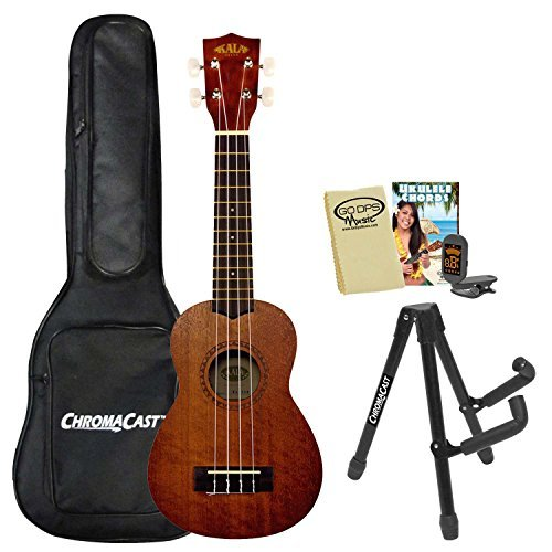 Kala KA-15S Mahogany Soprano Ukulele with Gig Bag, Clip-On Tuner, Universal A Frame Stand and Ukulele Cloth by Kala