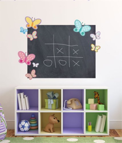 Butterflies Chalkboard Wall Decal- comes with FREE 12 inch NAME, butterflies decal, butterfly decal, butterfly decals, playroom chalkboard, chalkboard decal, blackboard decal, chalk board, black board, chalkboard sticker, blackboard sticker, wall board, wall chalkboard, kids sticker C2