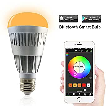 MagicLight Pro Bluetooth Smart LED Light Bulb - Smartphone Controlled Sunrise Wake Up LED Lights - Dimmable Multicolored Color Changing Party Lights Bulb - 80w Equivalent