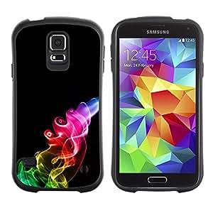 """Hypernova Slim Fit Dual Barniz Protector Caso Case Funda Para Samsung Galaxy S5 [Humo del arco iris Negro Llama""""]"""