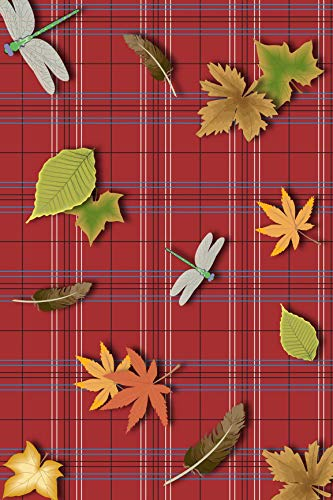Plaid Red White Blue Black Pattern Leaves Dragonflies Edible Cake Topper Image ABPID13445 - 1/4 sheet
