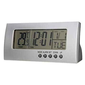 QZTG Despertador Digital Reloj De Alarma Digital Moderno Pantalla LCD Calendario Reloj De Alarma Despertador Reloj