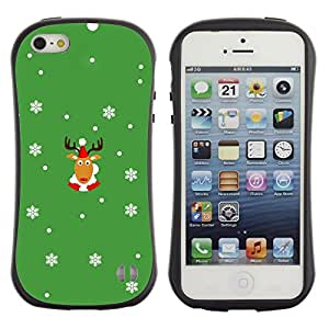 LASTONE PHONE CASE / Suave Silicona Caso Carcasa de Caucho Funda para Apple Iphone 5 / 5S / Rein Deer Winter Horns Christmas Snow Flakes