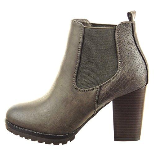 Sopily - Scarpe Fashion Da Donna Stivaletti Chelsea Boots Snakeskin - Grigio