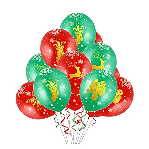 Besttt-Seller 12 inch Printed Latex Balloons Merry Christmas Balloons Red and Green Balloons for Christmas Decorations- 24Ct