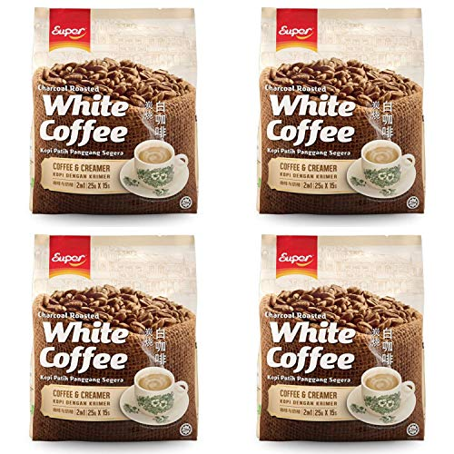 - 4 Packs SUPER Charcoal Roasted White Coffee Flavor Coffee & Creamer 2 in 1 Instant Coffee (4 pack x 15 sachets) Imported from Malaysia