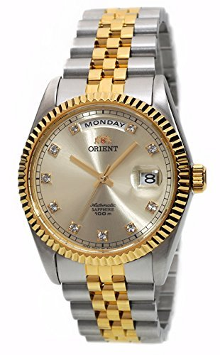 ORIENT 'President' Classic Automatic Sapphire Watch Two Tone Gold EV0J002C