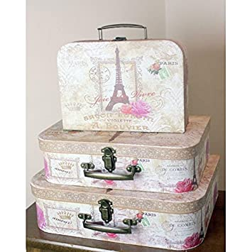 3 x Large Vintage Box Shabby Chic Storage Boxes Suitcase Paris ...