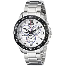 Jiusko Mens Multifunction Analog Quartz 200m Silver Watch - Sapphire - Dual Time 24 Hour - Alarm -  Stainless Steel - Day Date - 128LSB01