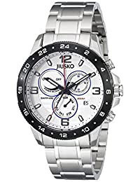 Jiusko Mens Multifunction Analog Quartz 200m Silver Watch - Sapphire - Dual Time 24 Hour - Alarm -  Stainless Steel - Day Date - 128LSB01
