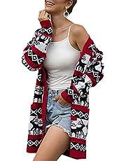 BTFBM Women Long Sleeve Open Front Leopard Knit Long Cardigan Casual Print Knitted Maxi Sweater Coat Outwear Pockets