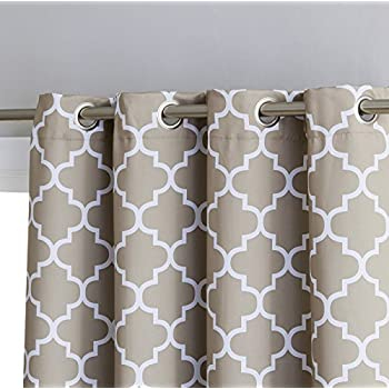 "HLC.ME Lattice Print Thermal Insulated Blackout Room Darkening Window Curtains for Bedroom - Taupe - 52"" W x 108"" L - Pair"