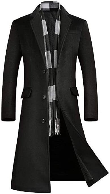 Jotebriyo Men Slim Casual Longline Trench Pea Coat Jacket Overcoat