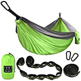 XL Double Parachute Camping Hammock - Tree Portable with Max 1000 lbs Breaking Capacity - FREE 16 Loops Tree Strap & Carabiners For Backpacking, Camping, Hiking, Travel, Yard (Lime Green / Gray)
