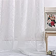 Anady Top Set of 2 Panels/Pair Frozen Drapes Ice and Snow off-White/Creamy White Winter Sonata,Abstract Tree Branch Sheer Curtains Rod Pocket,Each Panel 50W by 96L-Inch