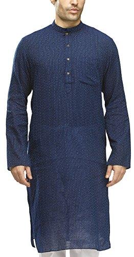 Manyavar Men's Casual Cotton Kurta (Only Kurta) Large Feroze