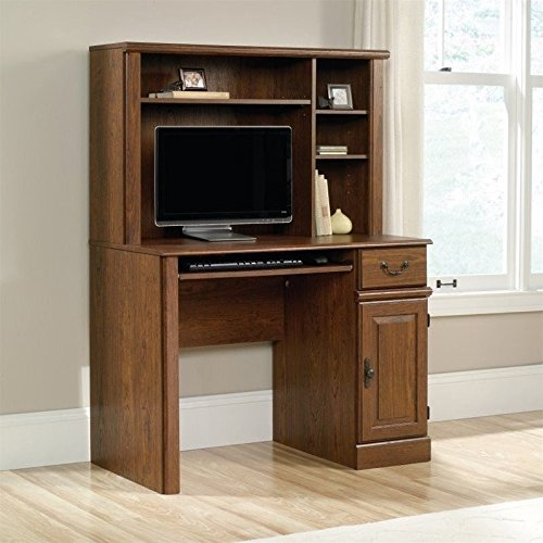 Sauder Orchard Hills Computer Desk with Hutch in Milled Cherry - Orchard Hills Computer Desk