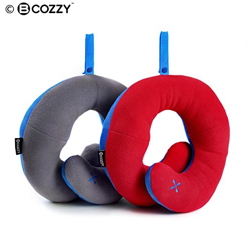 BCOZZY Chin Supporting Travel Pillow - Supports the Head, Neck and Chin in Maximum Comfort in Any Sitting Position. A Patented Product. Set of 2 (ADULT, GRAY + (Where To Buy Red Contacts)