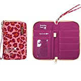 M Square Waterproof Multi-function Zippered Travel Passport Wallet Credit Debit Card Document Holder Cover MS-T1516 (Short Leopard Red)