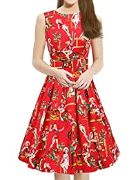 Womens Vintage 1950s Sleeveless Dress with Boat Neck Inspired Rockabilly Swing Dress