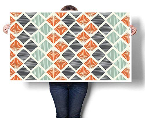 (Mangooly neon Wall Art Pop Art Style Retro Rhombus Fractal with Stripes Nostalgic Graphic Print Canvas Wall Art 48