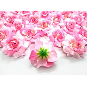 "(100) Silk Two Tone Light Pink Roses Flower Head - 1.75"" - Artificial Flowers Heads Fabric Floral Supplies Wholesale Lot for Wedding Flowers Accessories Make Bridal Hair Clips Headbands Dress 3"
