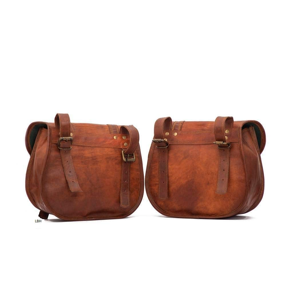 Motorcycle Side Pouch Brown Leather Side Pouch Saddle 2Bags Panniers Two Bags