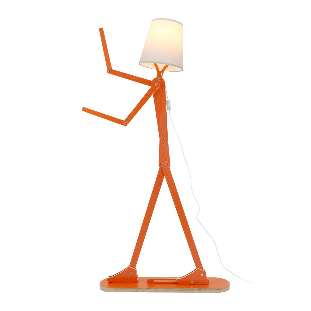 HROOME Modern Contemporary Decorative Wooden Floor Lamp Light with Fold White Fabric Shade Adjustable Height Standing Light for Living Room Bedroom Office 160cm Unique Design DIY Man Lamps (Orange)